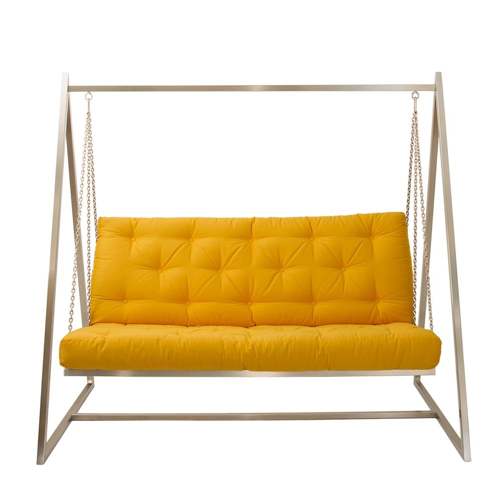 Schwingendes Sofa Edelstahl mit Polsterbezug Gelb