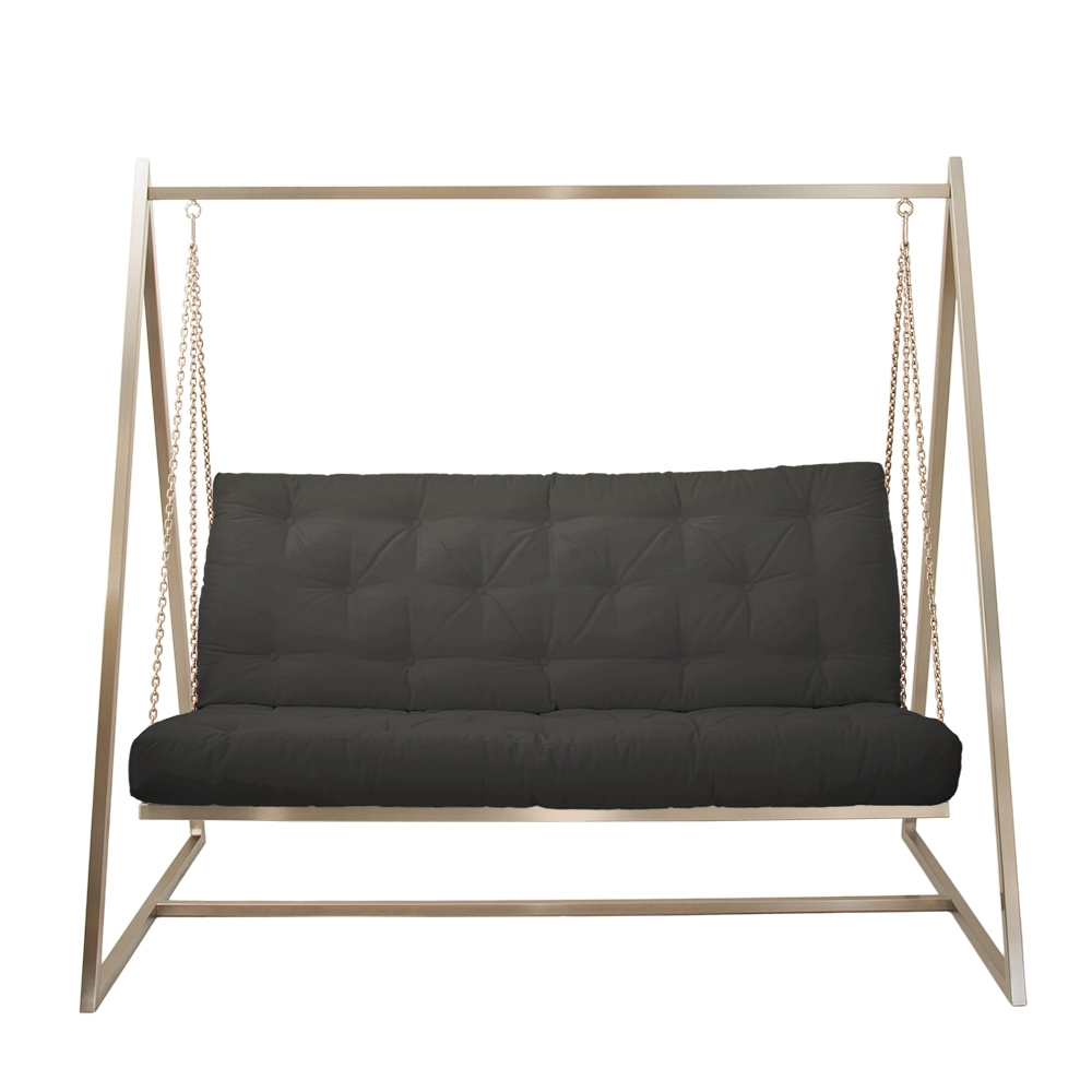 Schwingendes Sofa Edelstahl mit Polsterbezug Schwarz