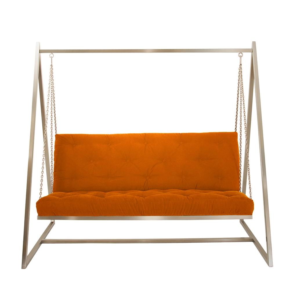 Sofa Schaukel Edelstahl mit Polsterbezug Orange