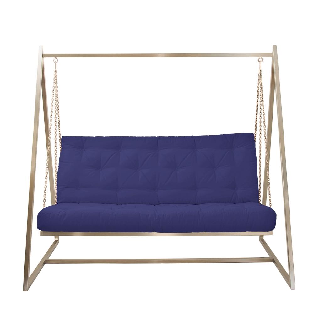 Schwingendes Sofa Edelstahl mit Polsterbezug Marineblau