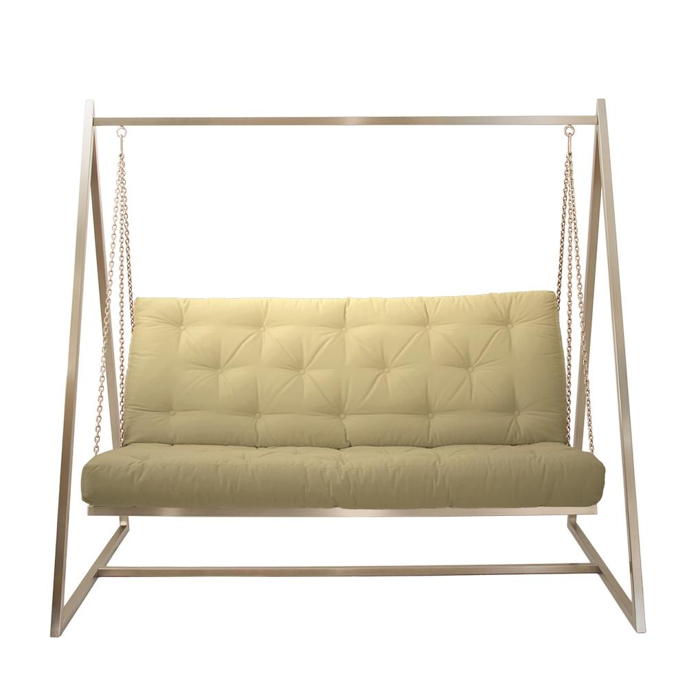 Schwingendes Sofa Edelstahl mit Polsterbezug Natur