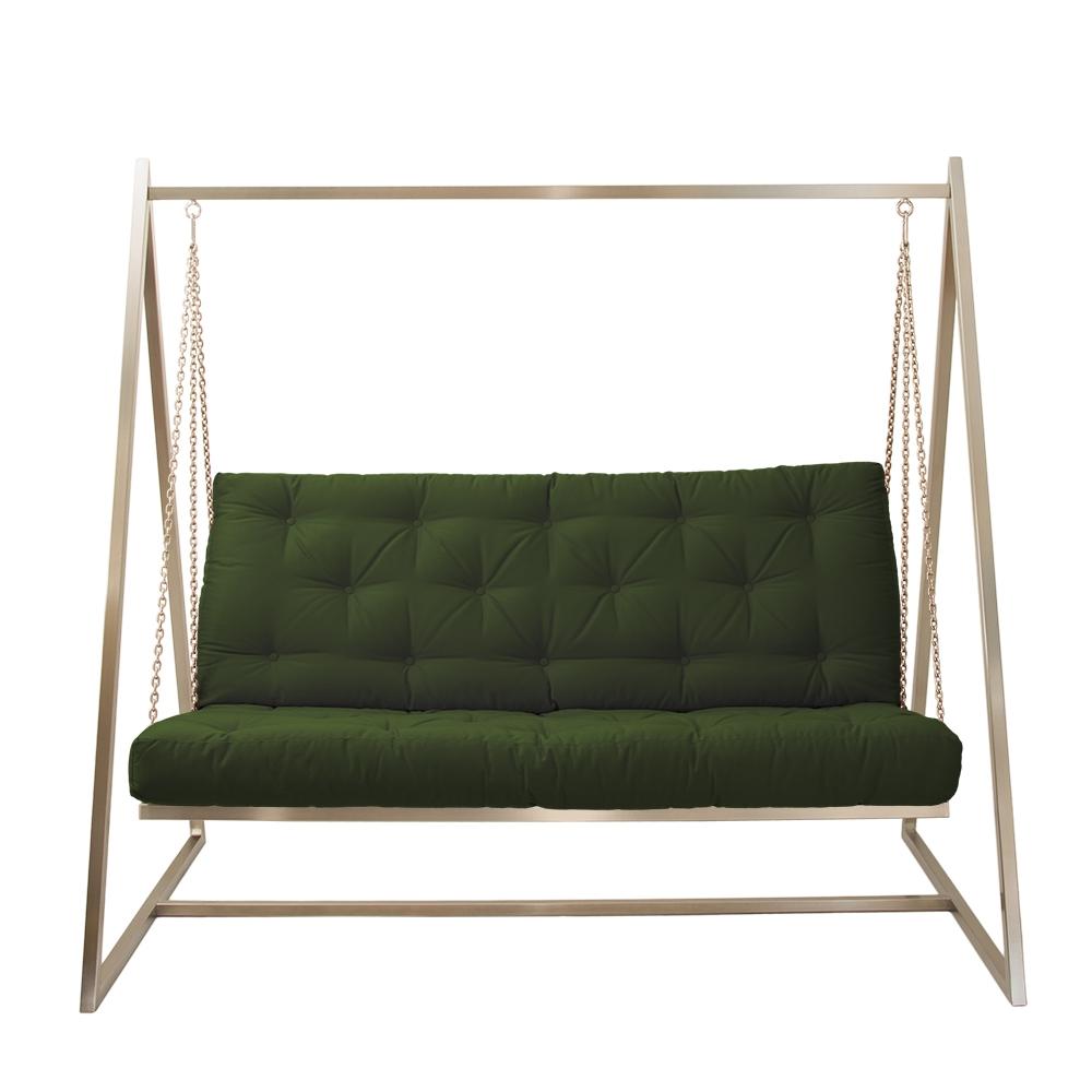 Schwingendes Sofa Edelstahl mit Polsterbezug opalgrün