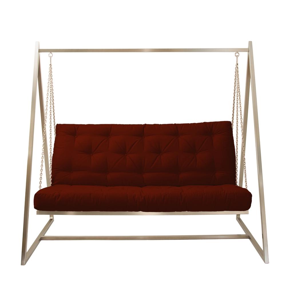 Schwingendes Sofa Edelstahl mit Polsterbezug Rot